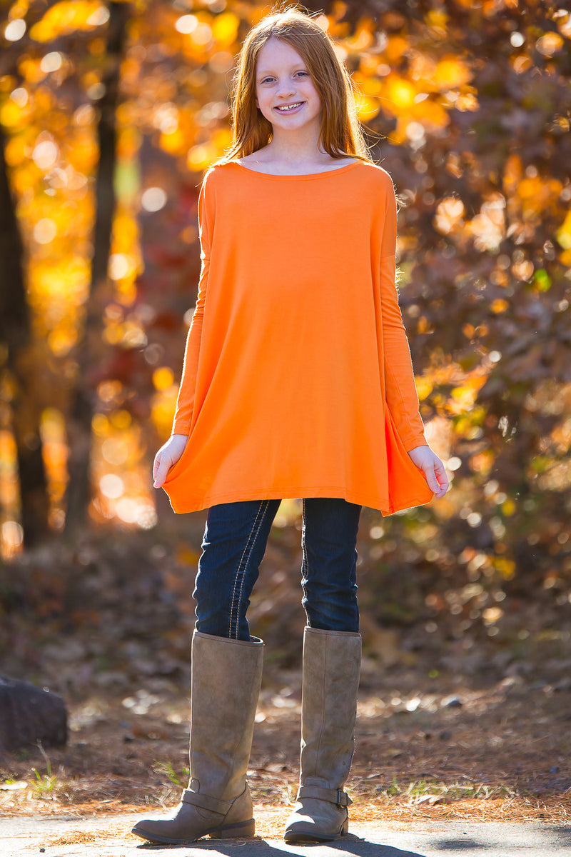 The Perfect Kids Long Sleeve Piko Top-Orange