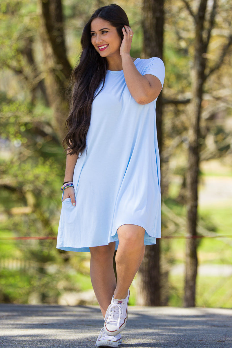 The Perfect Piko Short Sleeve Swing Dress-Light Blue