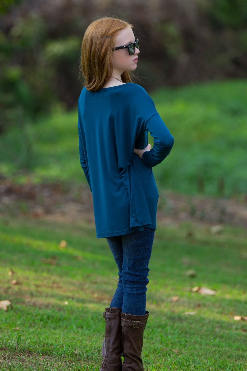 The Perfect Long Sleeve Kids Piko Top-Majolica Blue