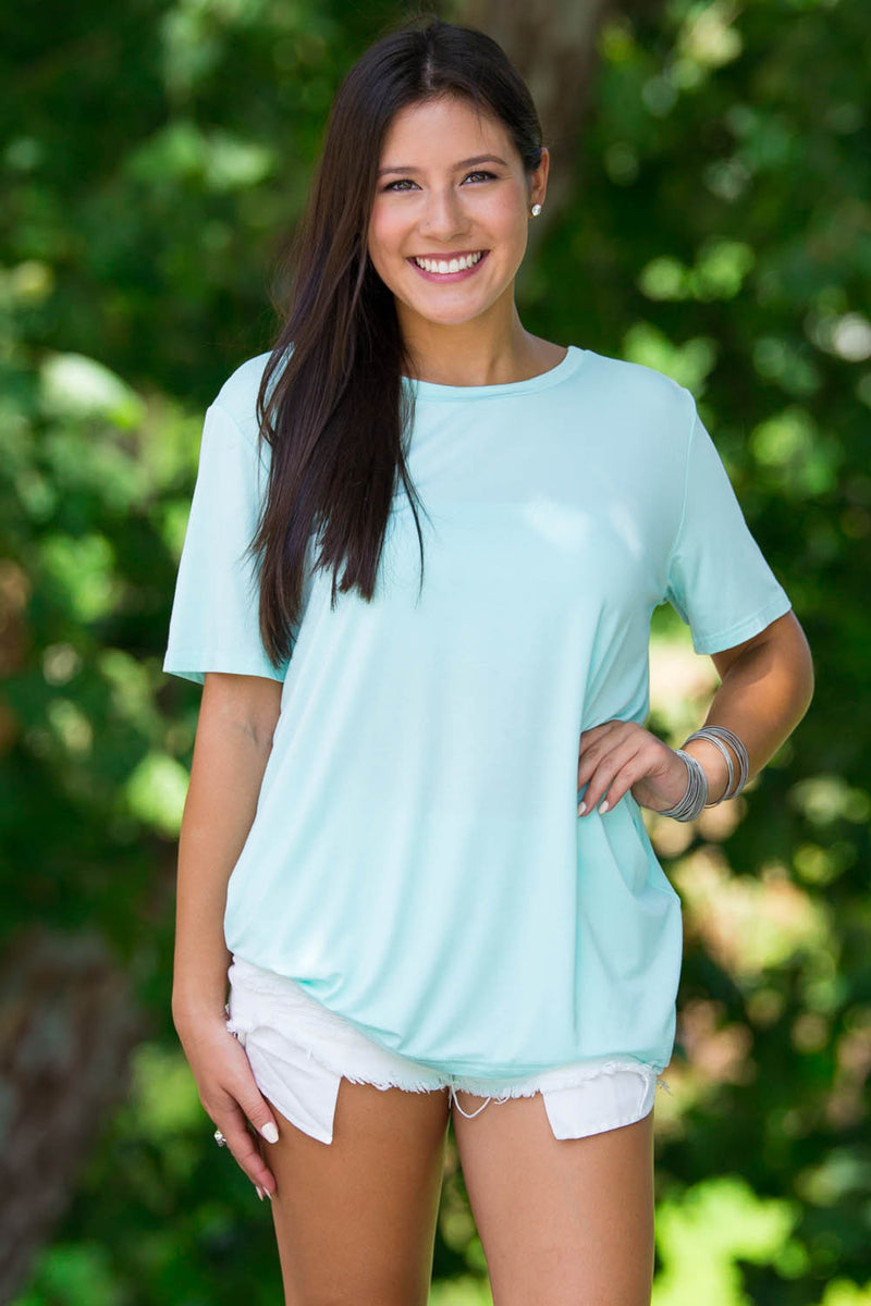 Short Sleeve Round Neck Piko Tee-Mint