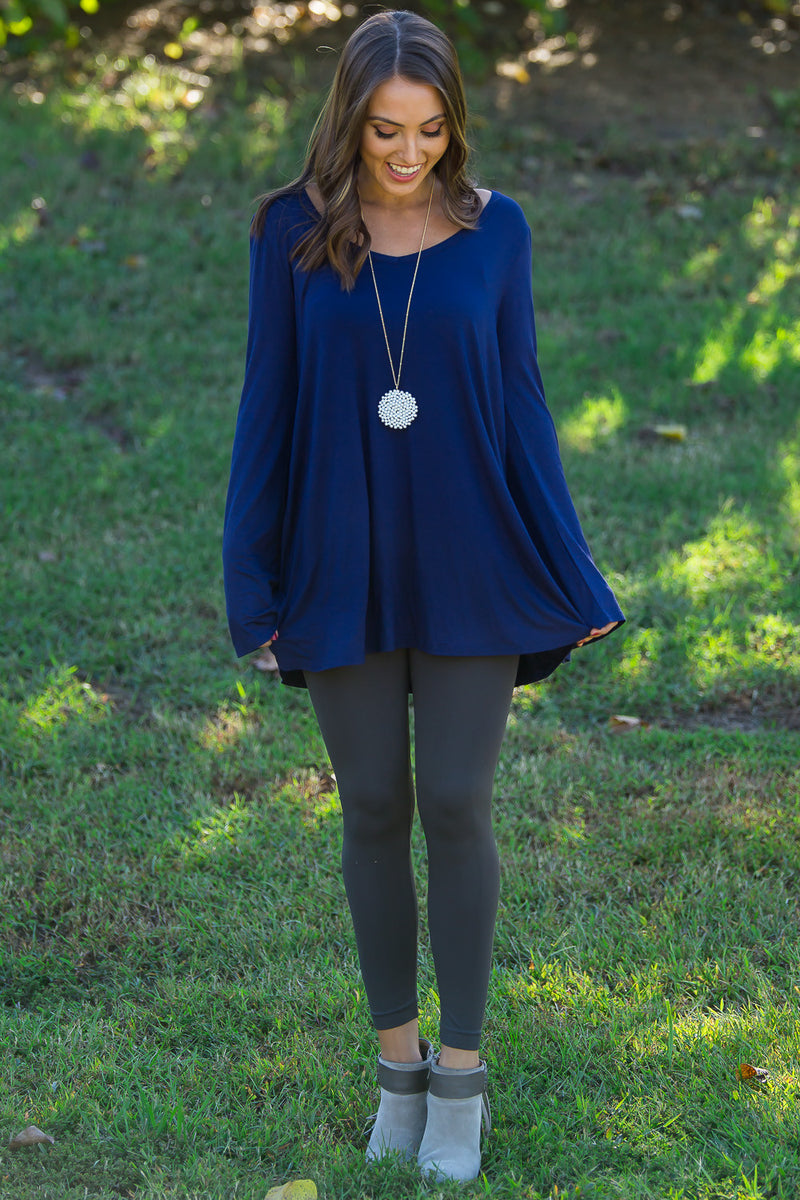 The Perfect Piko Flared Bottom Bell Sleeve Top-Navy