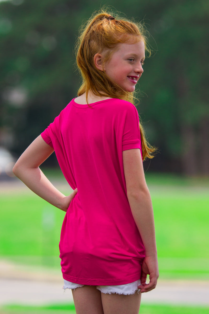 The Perfect Kids Short Sleeve Piko Top-Fuchsia
