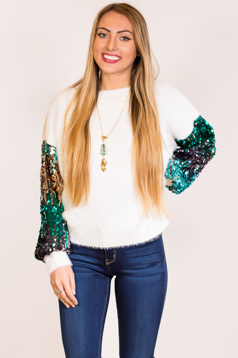 SALE-The Sequin Event Sweater Top-Cream
