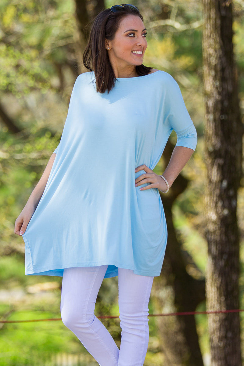 The Perfect Piko Half Sleeve Tunic-Light Blue