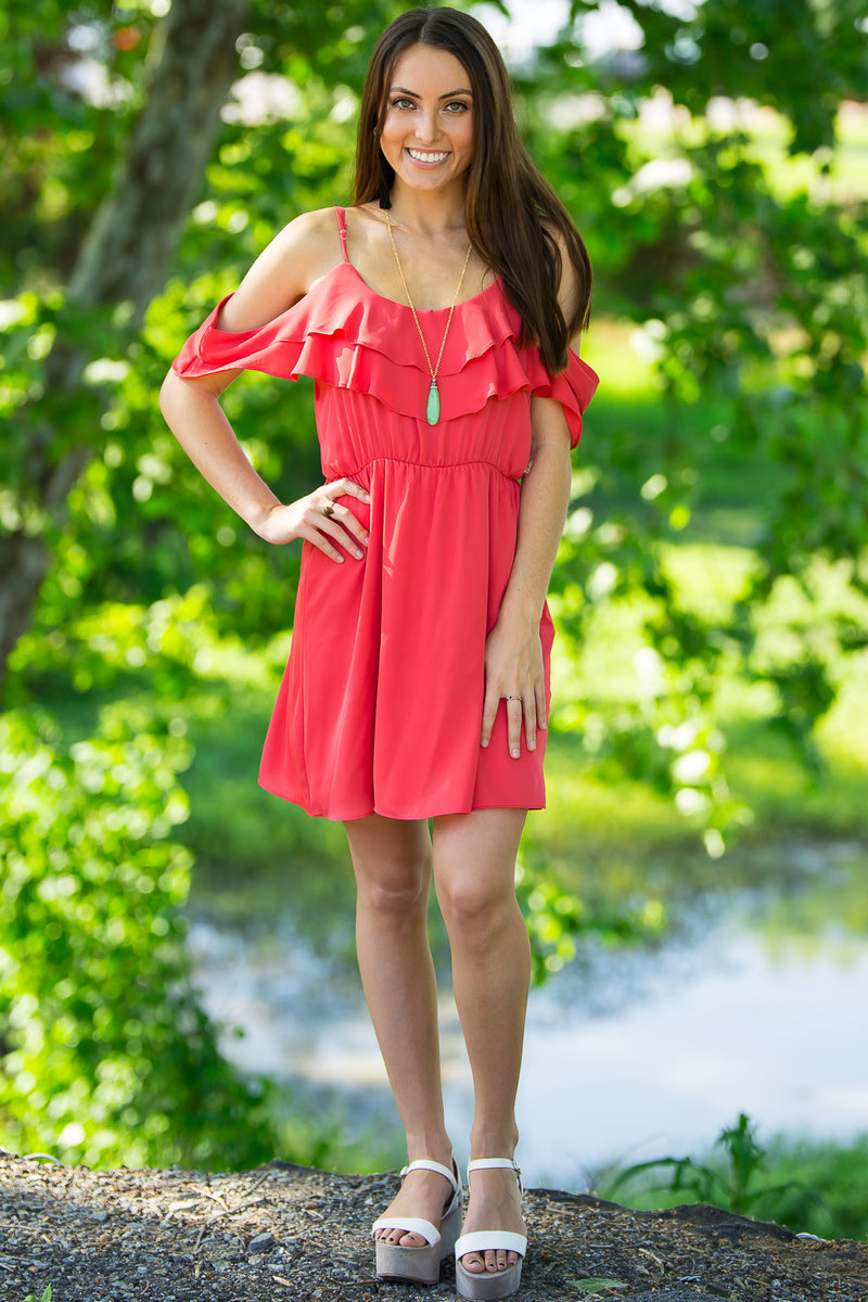 Everly-A Bit Of Ruffle Dress-Coral