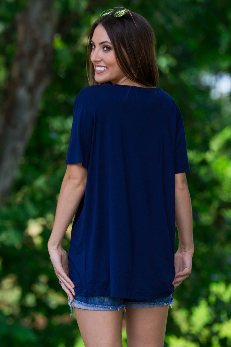 Short Sleeve V-Neck Piko Tee-Navy