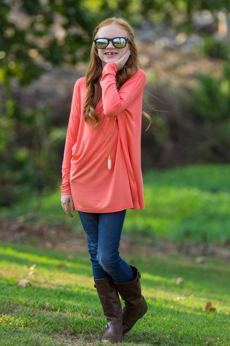 The Perfect Kids Long Sleeve Piko Top-Dark Peach