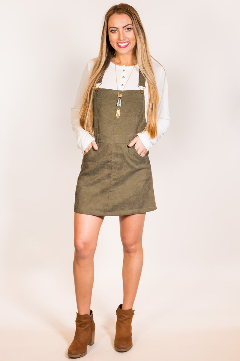 SALE - When And Where Overall Dress-Olive