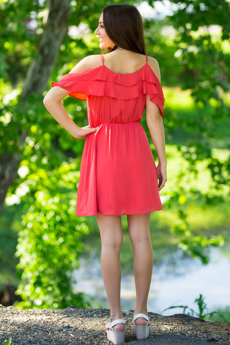 SALE-Everly-A Bit Of Ruffle Dress-Coral