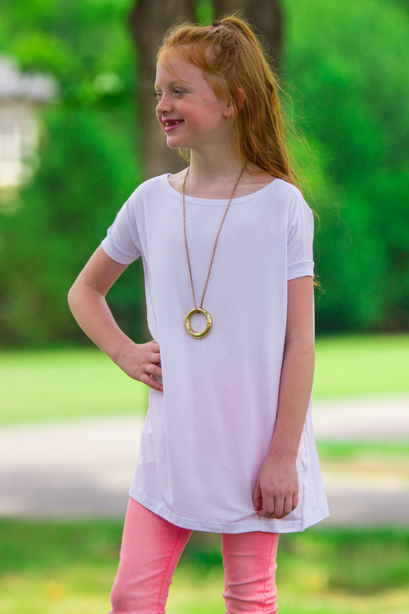 The Perfect Kids Short Sleeve Piko Top-White