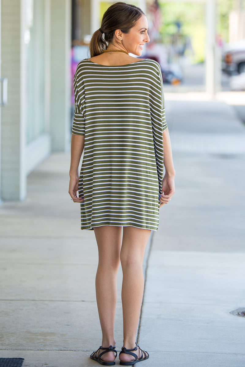 The Perfect Piko Half Sleeve Tunic-Olive/White