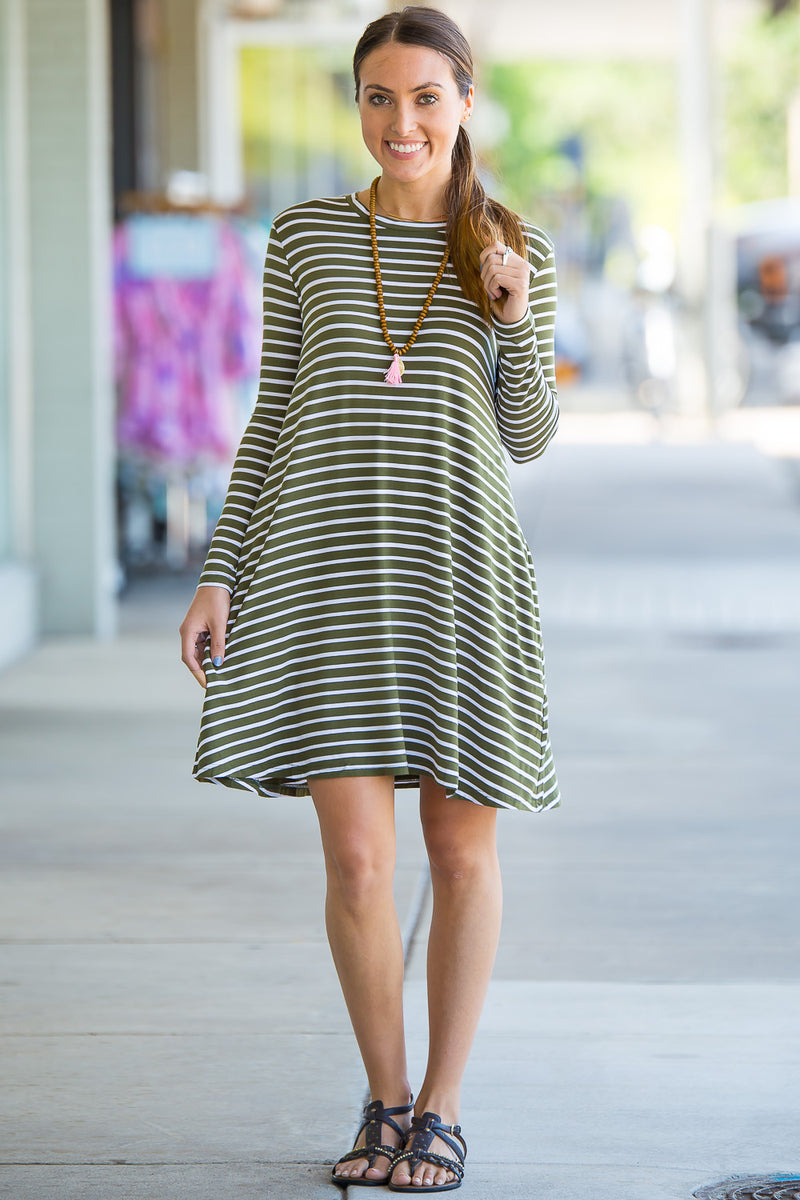The Perfect Piko Long Sleeve Tiny Stripe Swing Dress-Olive/White