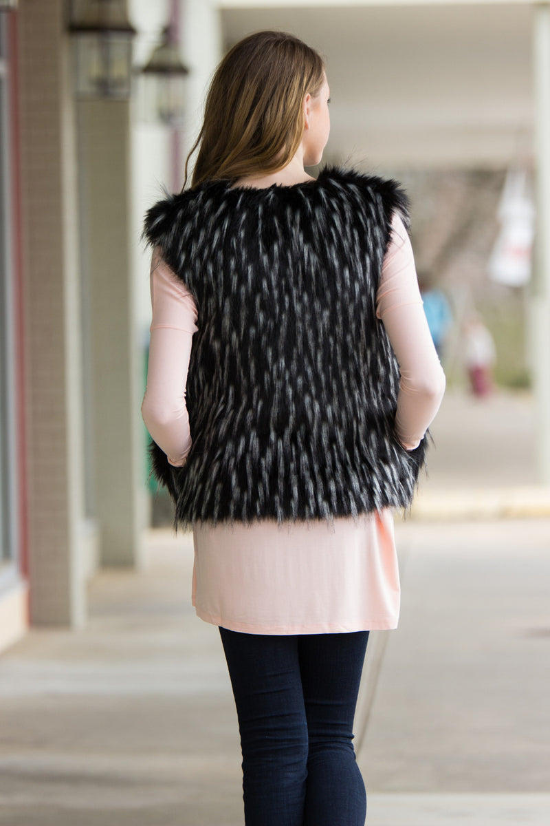PIKO-Faux Fur Open Vest-Black
