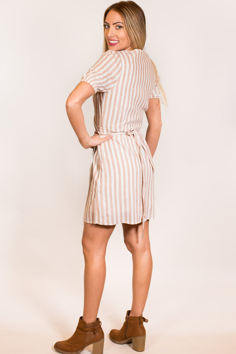 Everly-It's A Wrap Dress-Tan