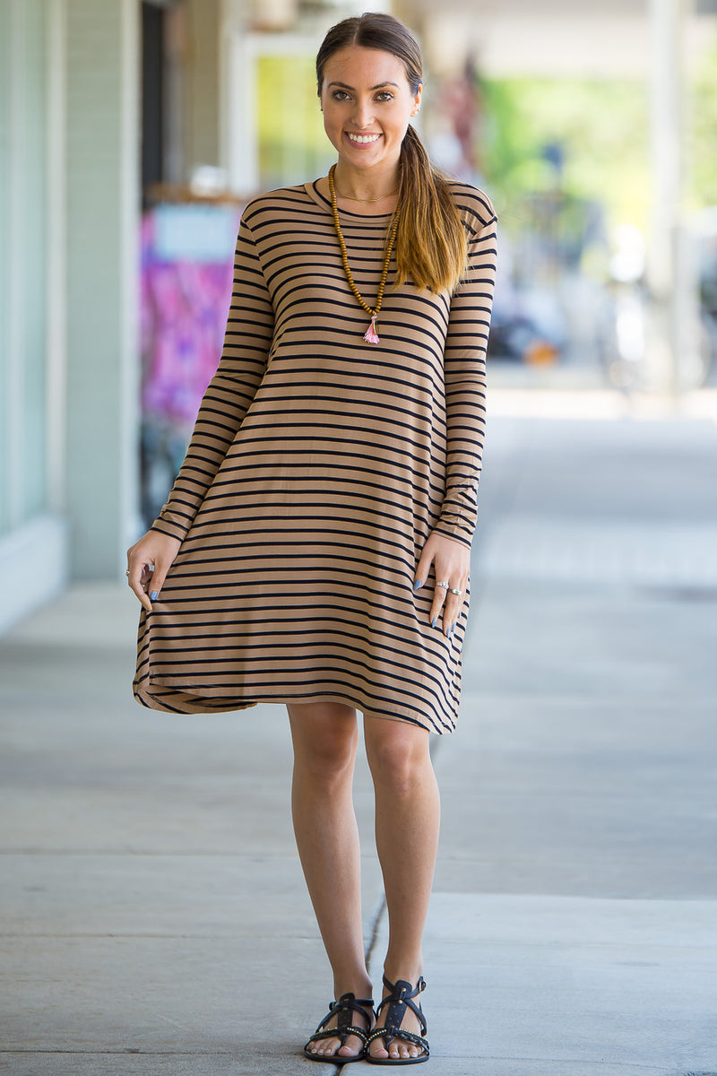 The Perfect Piko Long Sleeve Tiny Stripe Swing Dress-Camel/Black