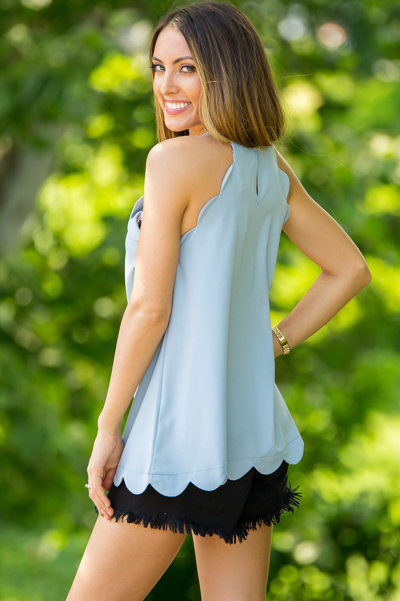 Scallop Away Top-Blue