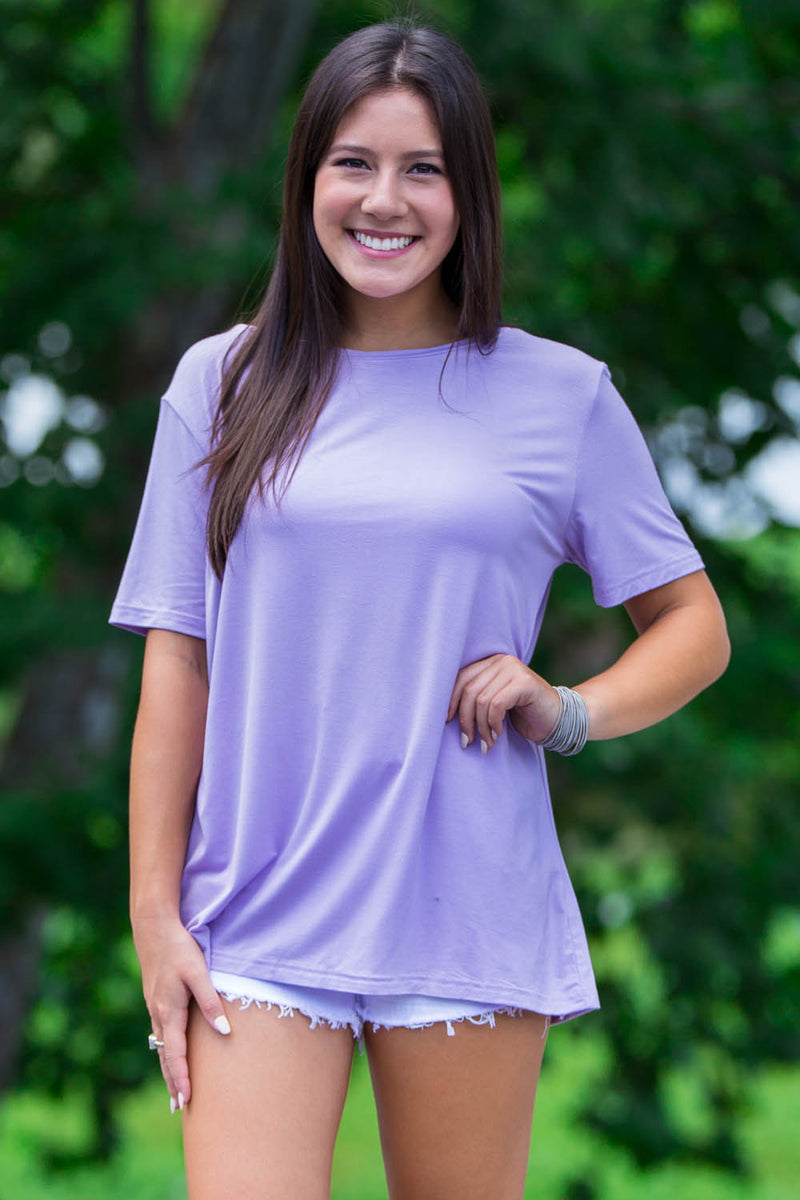 Short Sleeve Round Neck Piko Tee-Lilac