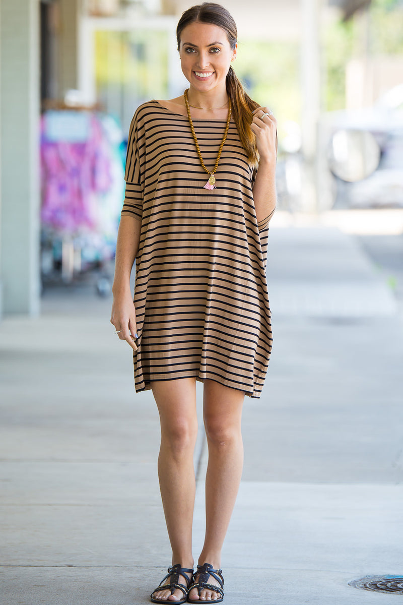 The Perfect Piko Half Sleeve Tunic-Camel/Black