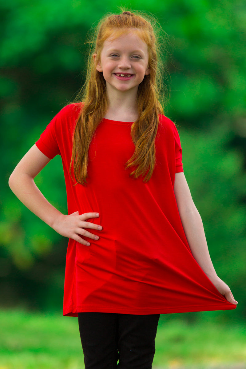 The Perfect Kids Short Sleeve Piko Top-Red