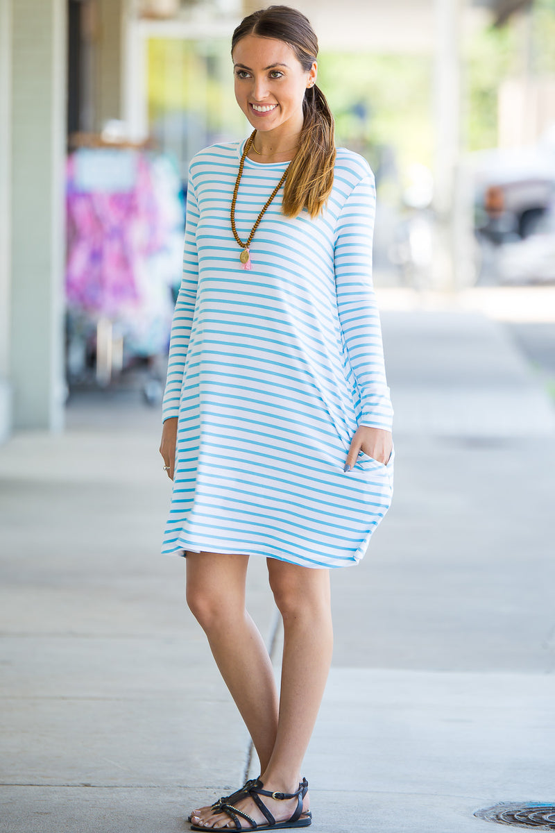 The Perfect Piko Long Sleeve Tiny Stripe Swing Dress-White/Baby Blue