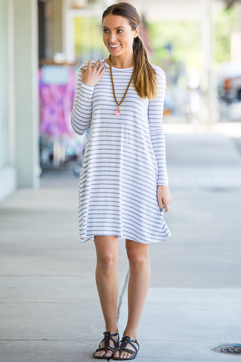 The Perfect Piko Long Sleeve Tiny Stripe Swing Dress-White/Heather