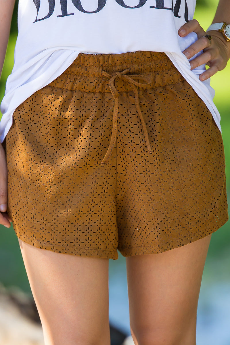 SALE- Laser Cut Out Suede Shorts-Camel