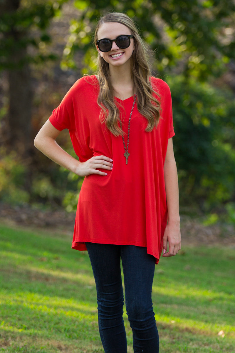 The Perfect Piko Short Sleeve V-Neck Tunic-Persian Red