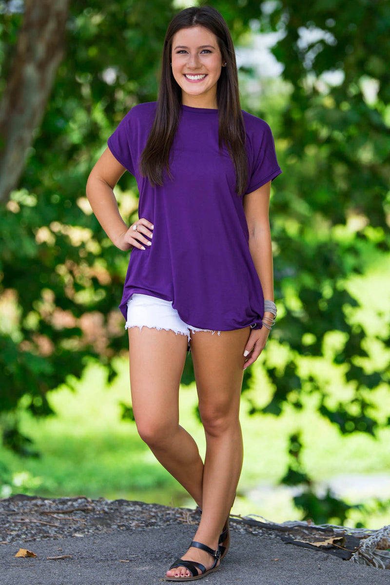 The Perfect Piko Rolled Short Sleeve Top-Dark Purple