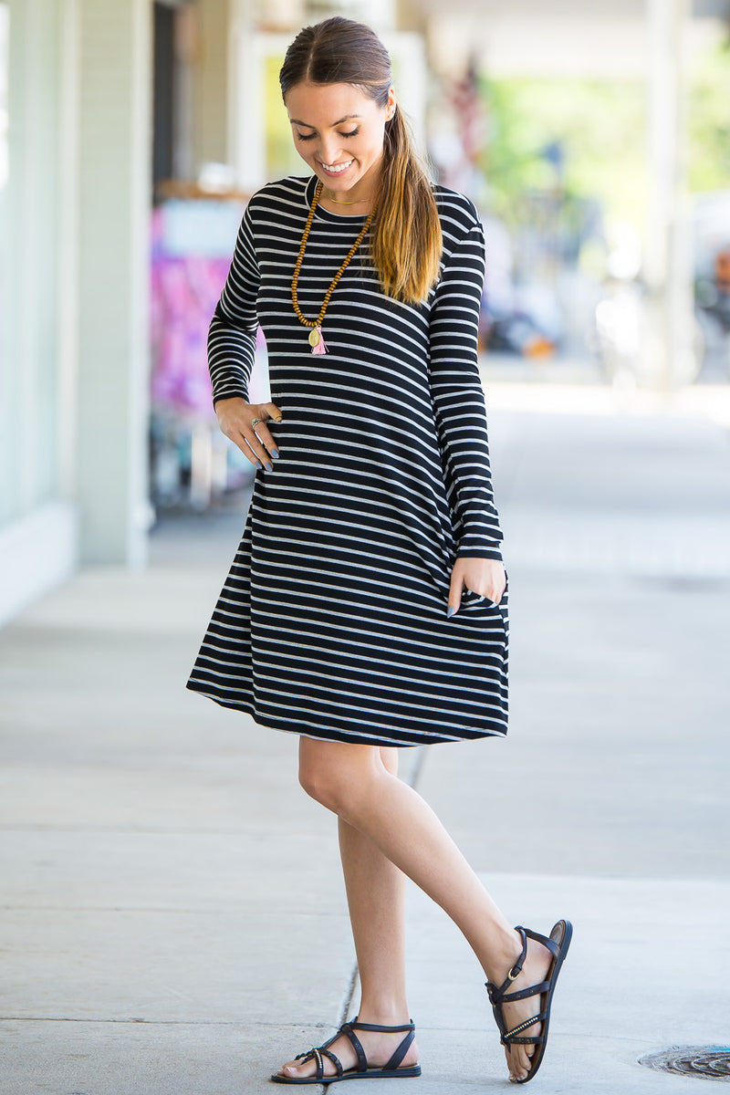 The Perfect Piko Long Sleeve Tiny Stripe Swing Dress-Black/Heather