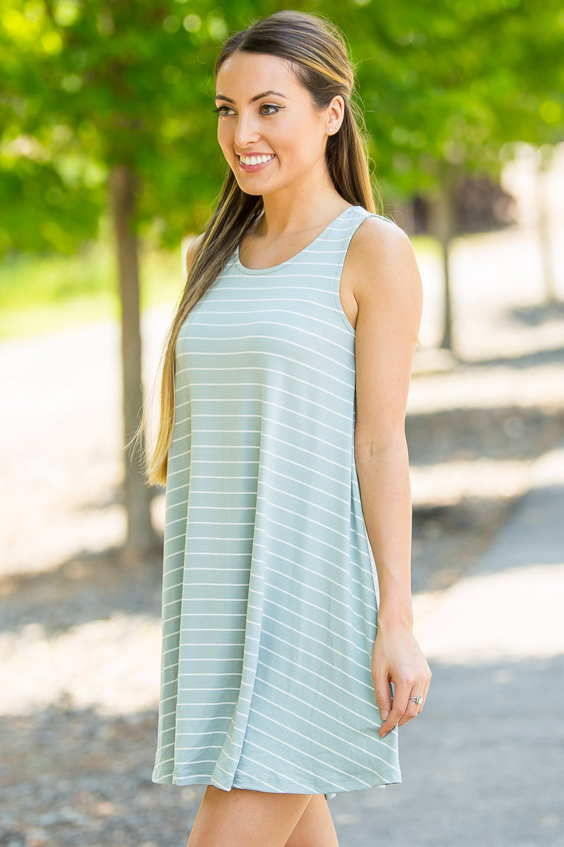 Sway With Me Dress-Dark Sage/Ivory