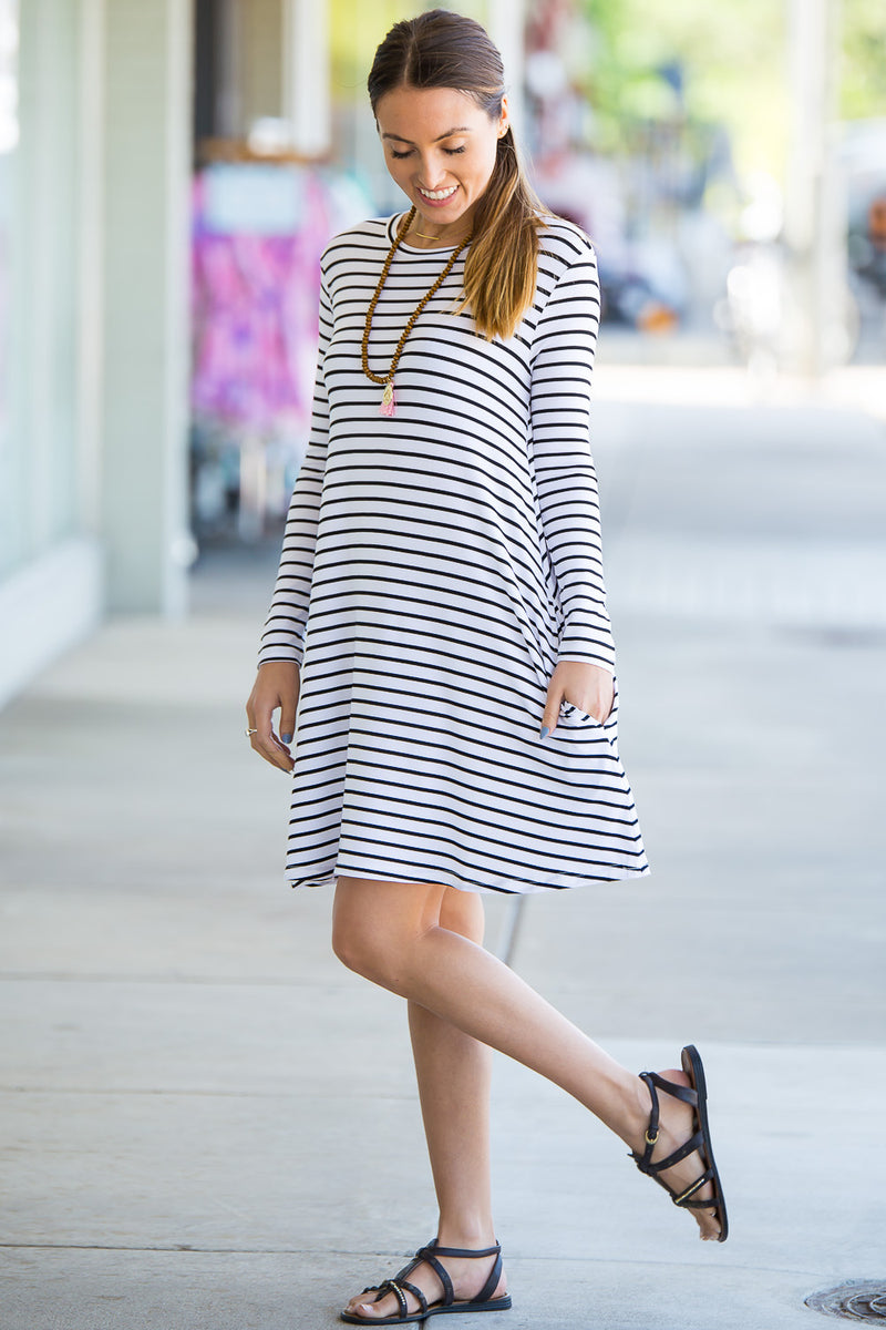 The Perfect Piko Long Sleeve Tiny Stripe Swing Dress-White/Black