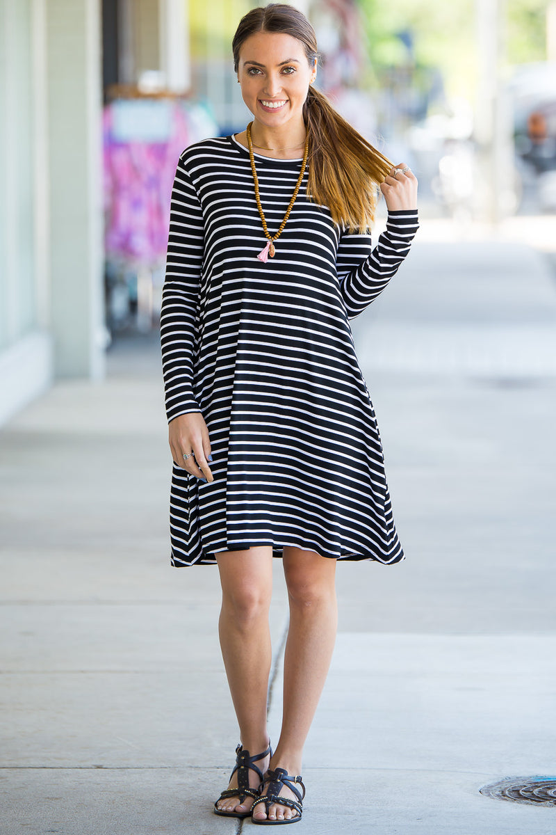 The Perfect Piko Long Sleeve Tiny Stripe Swing Dress-Black/White