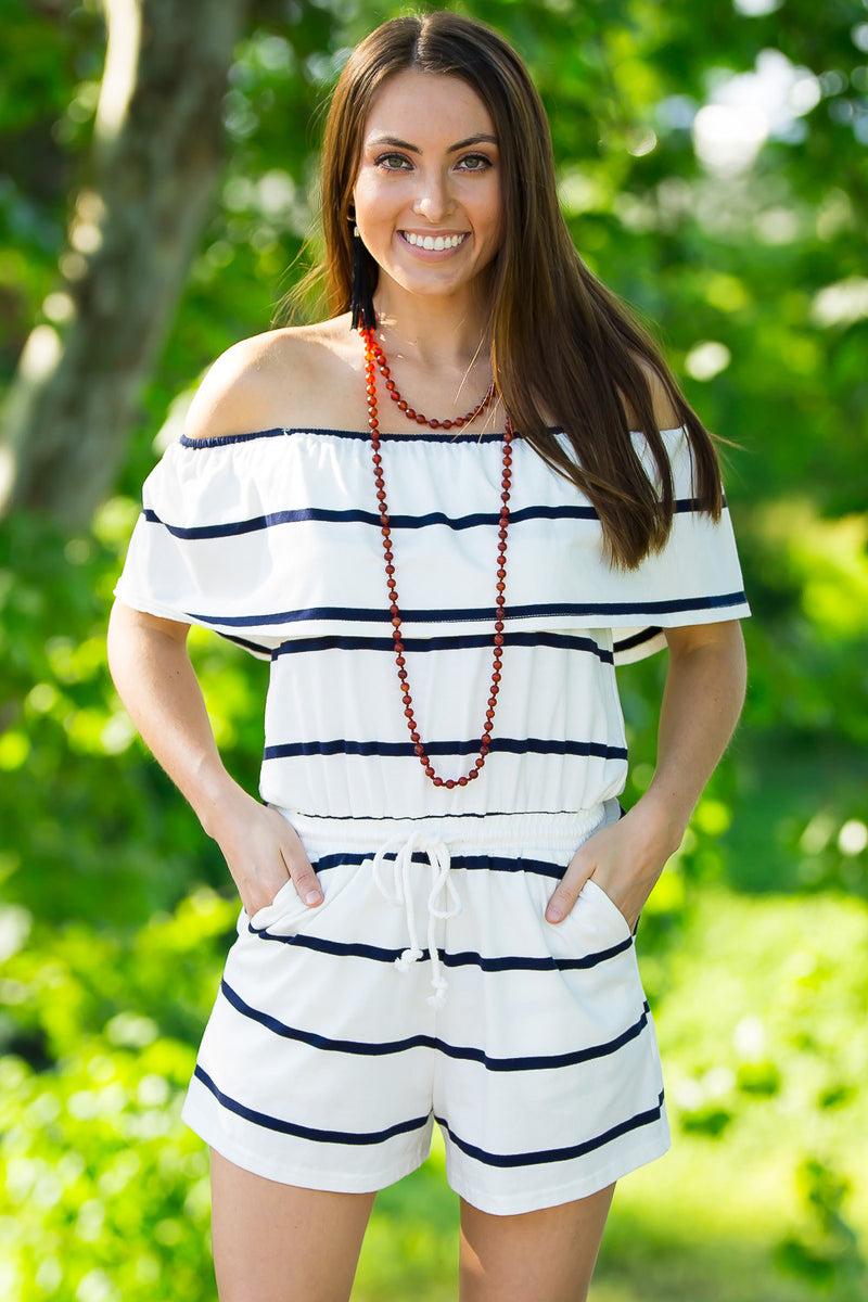 Your Best Shot Romper-Ivory/Navy