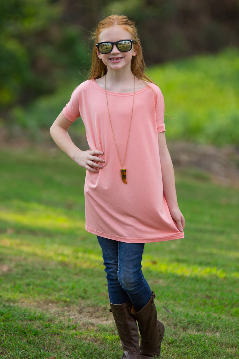 The Perfect Kids Short Sleeve Piko Top-Peach