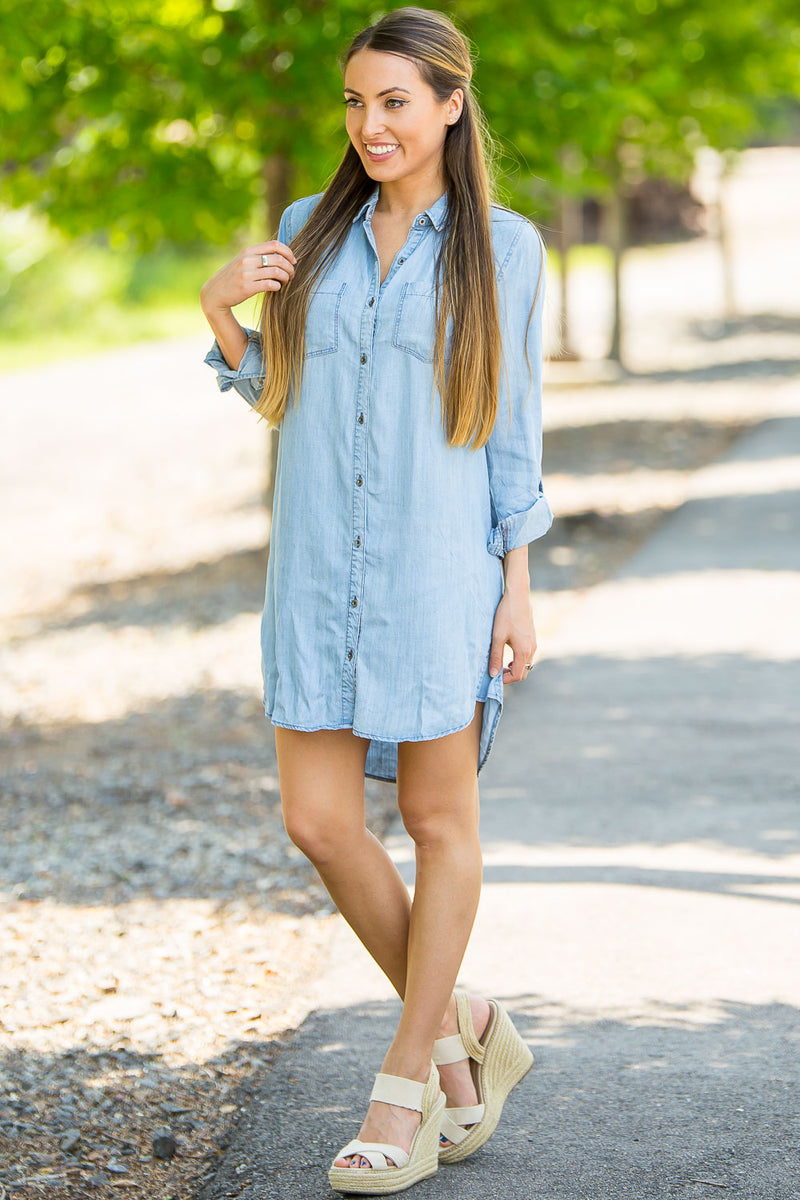Singing The Blues Dress-Denim