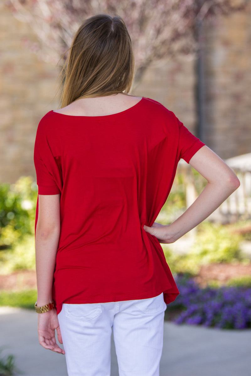 The Perfect Piko Short Sleeve Top-Red