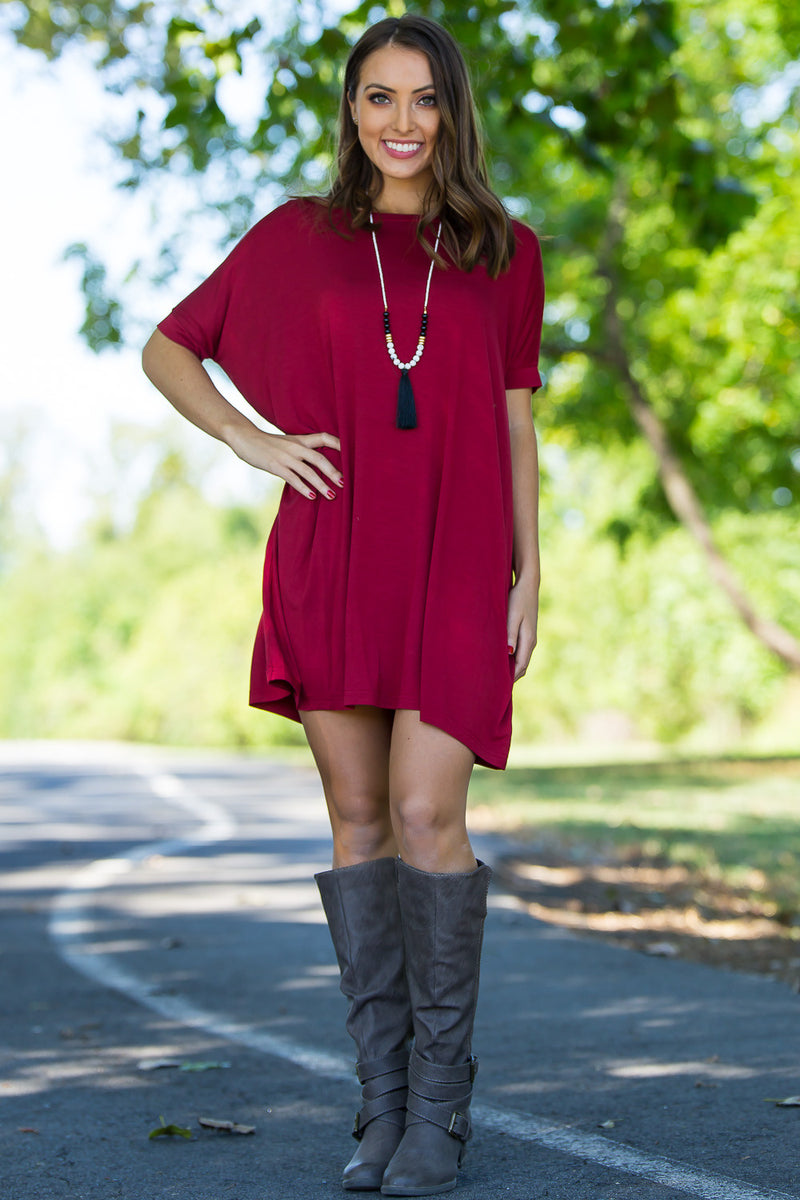 The Perfect Piko Short Sleeve Tunic-Wine
