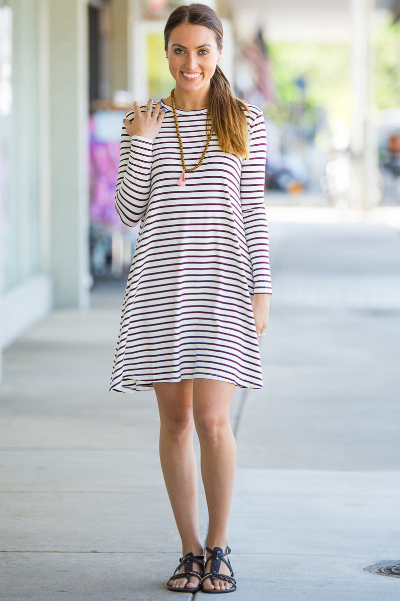 The Perfect Piko Long Sleeve Tiny Stripe Swing Dress-White/Burgundy