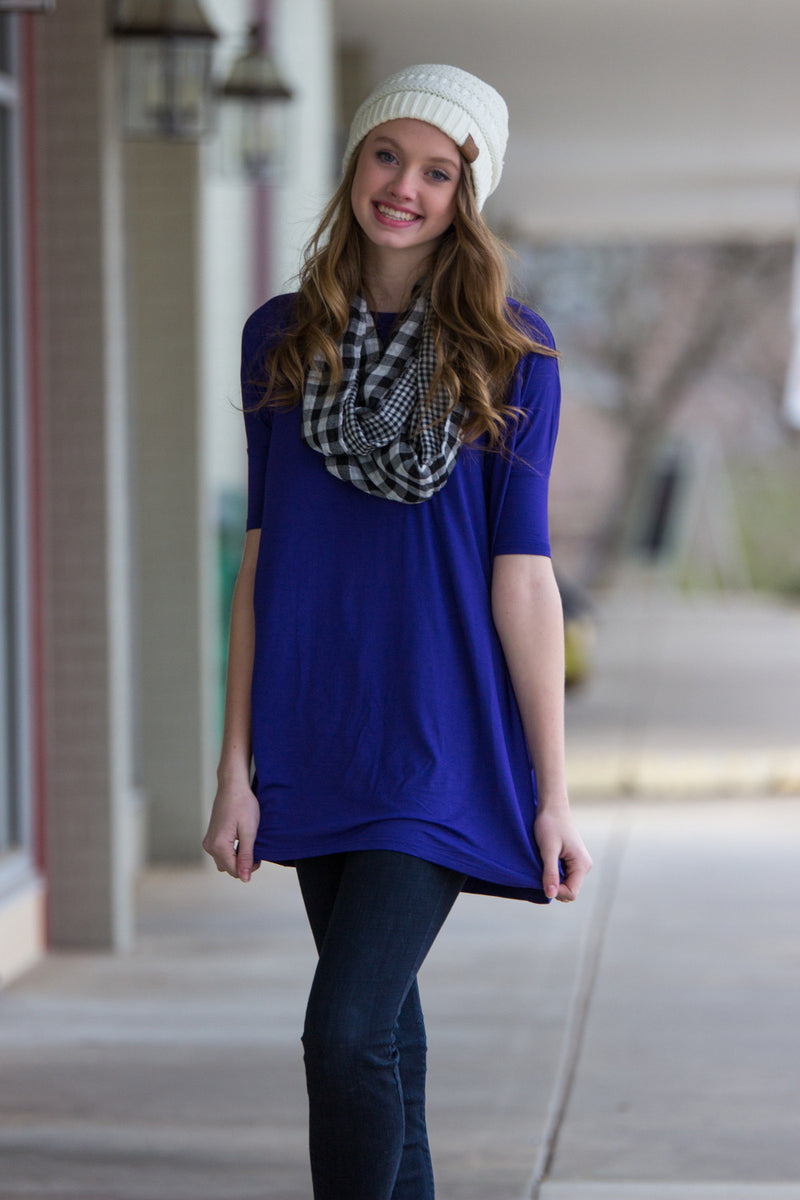 The Perfect Piko Half Sleeve Tunic-Violet
