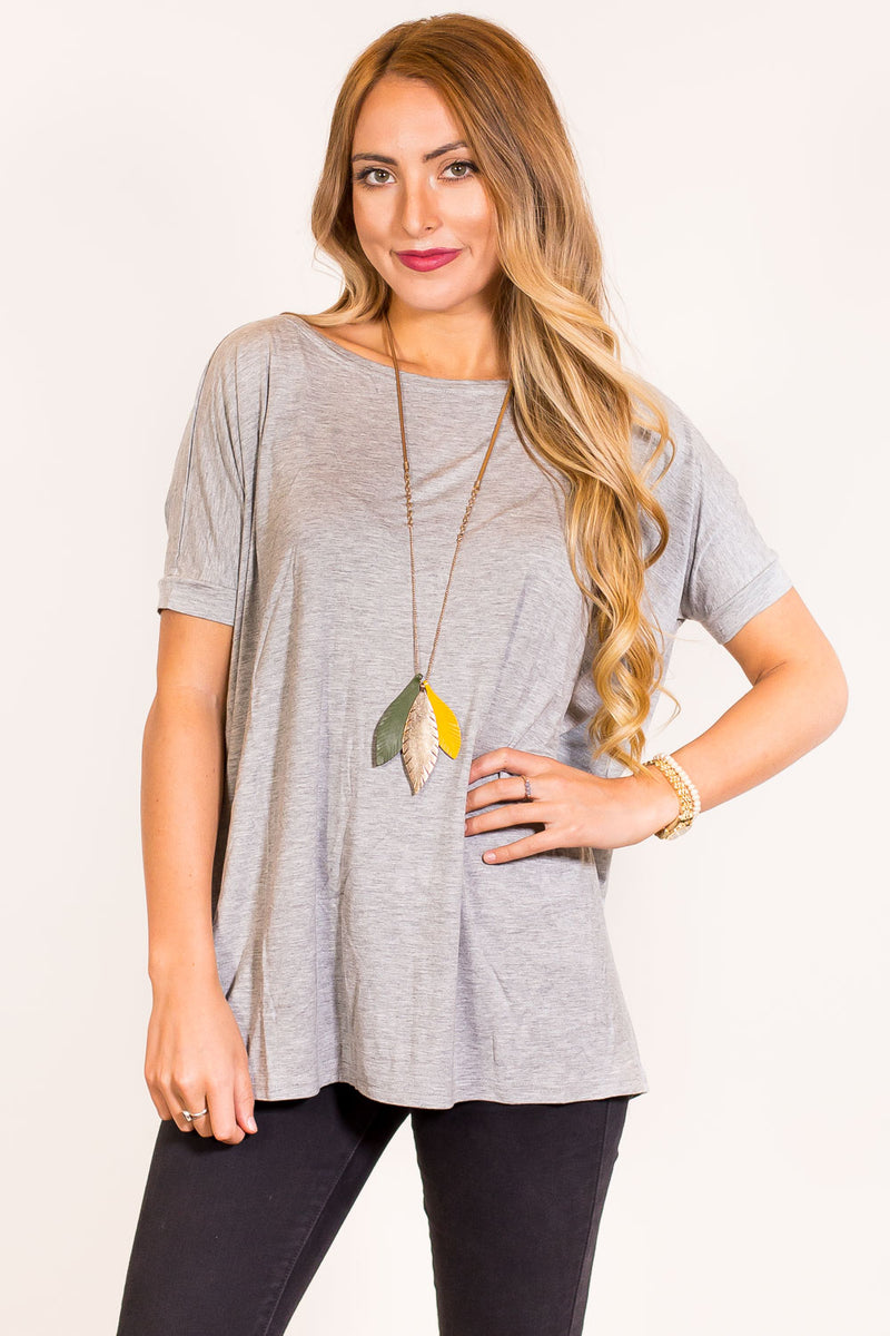 The Perfect Piko Short Sleeve Top-Grey