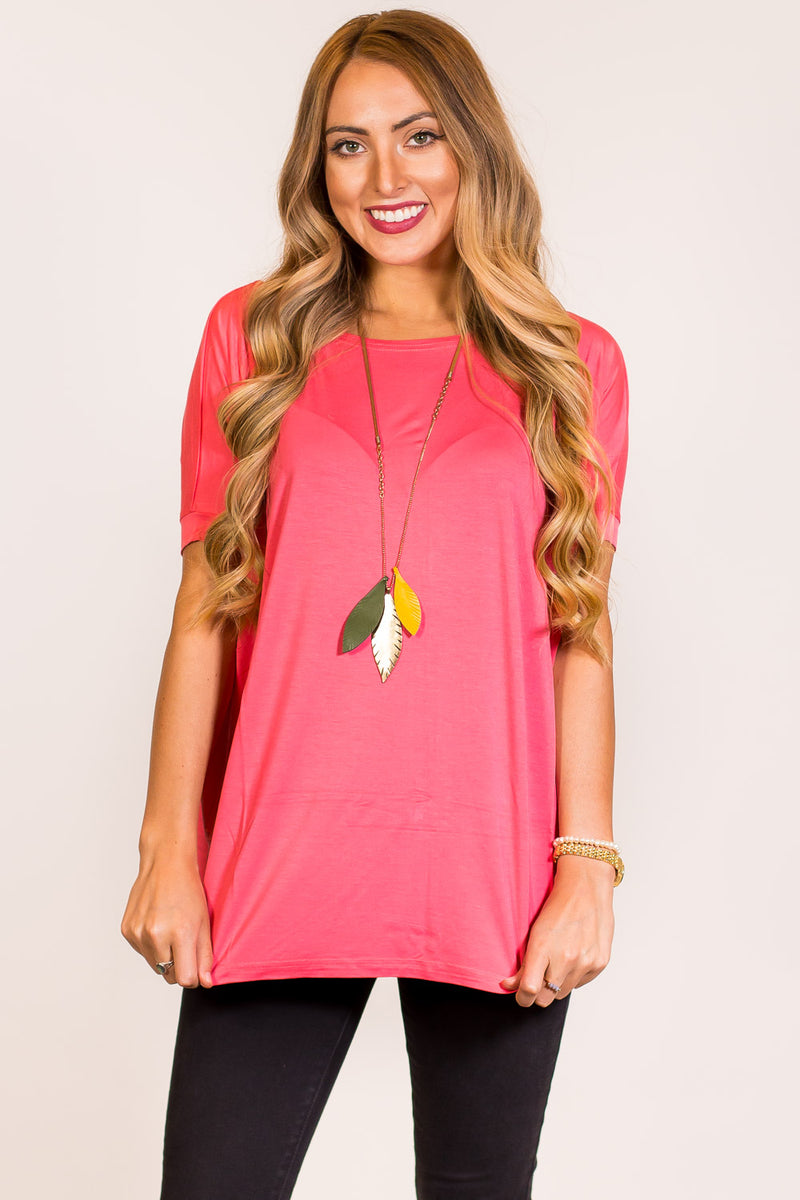 The Perfect Piko Short Sleeve Top-Coral