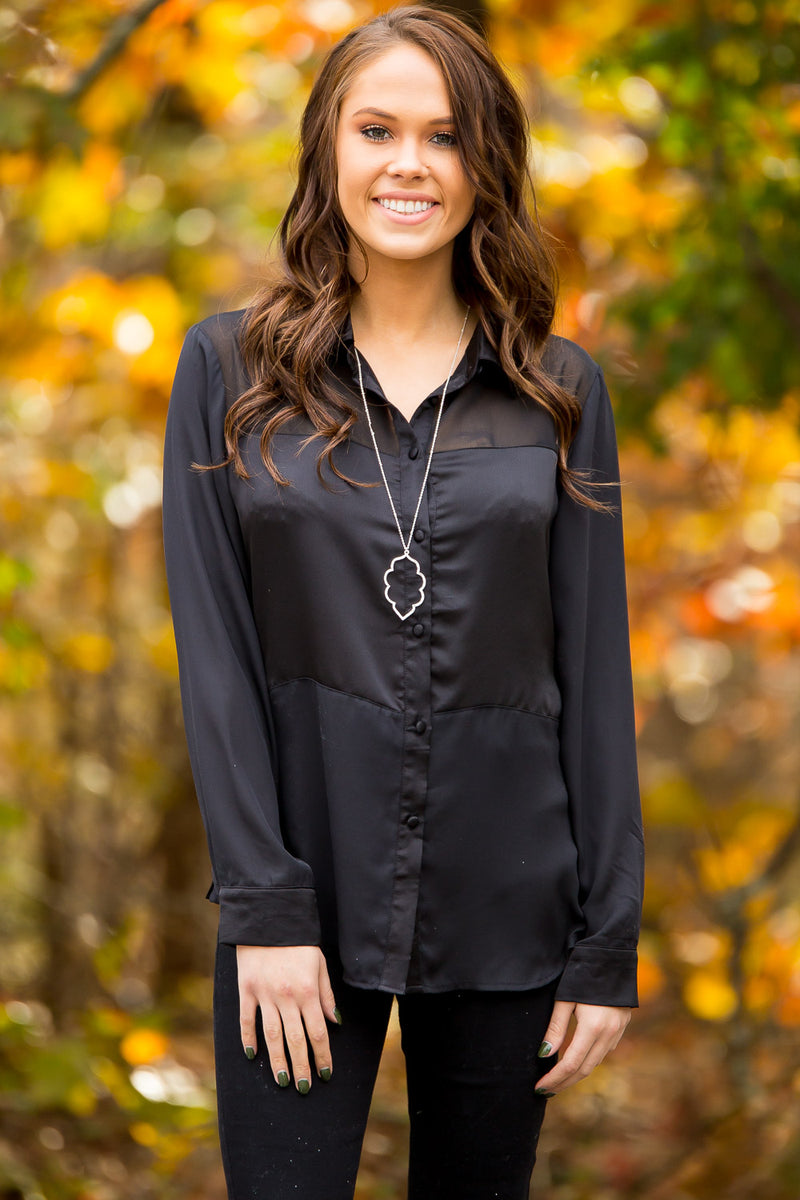 Polished Perfection Blouse-Black