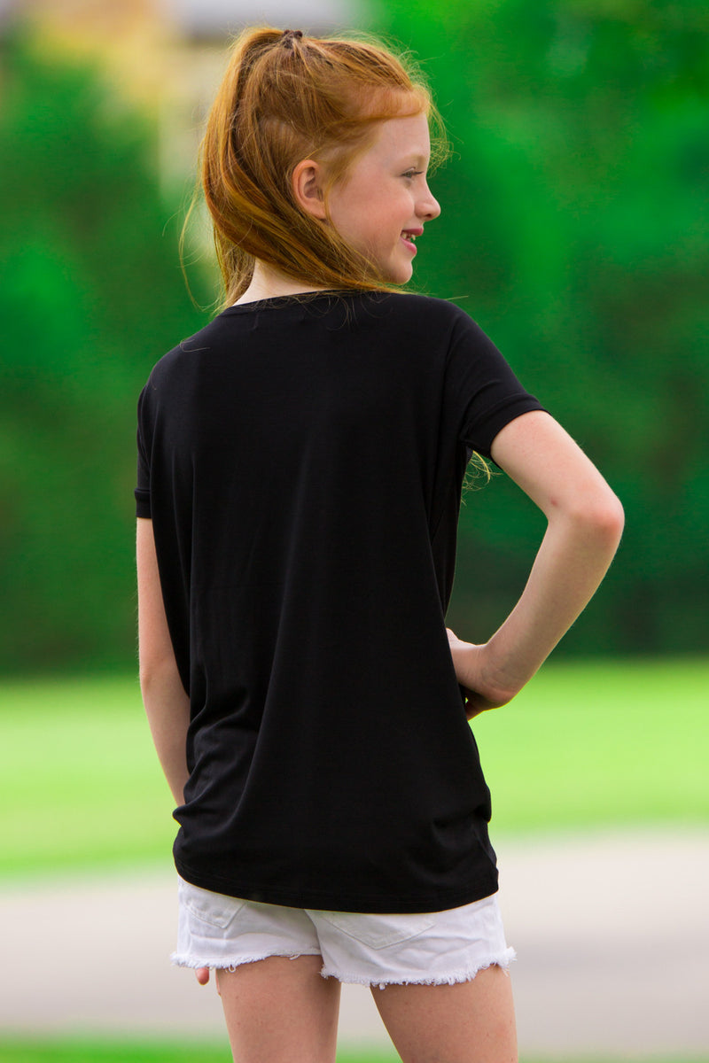 The Perfect Kids Short Sleeve Piko Top-Black