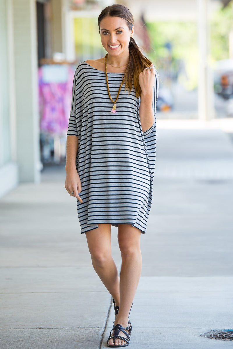 The Perfect Piko Half Sleeve Tunic-Heather/Black