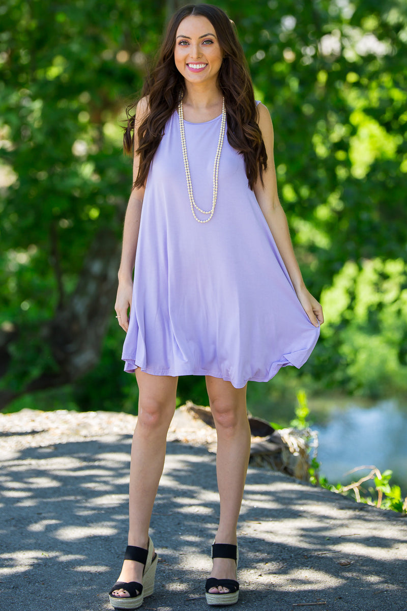 The Perfect Piko Tank Swing Dress-Lilac