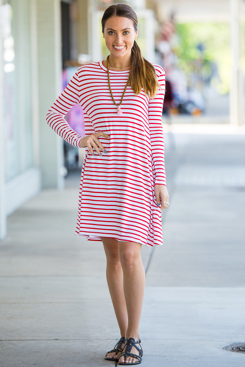 The Perfect Piko Long Sleeve Tiny Stripe Swing Dress-White/Red