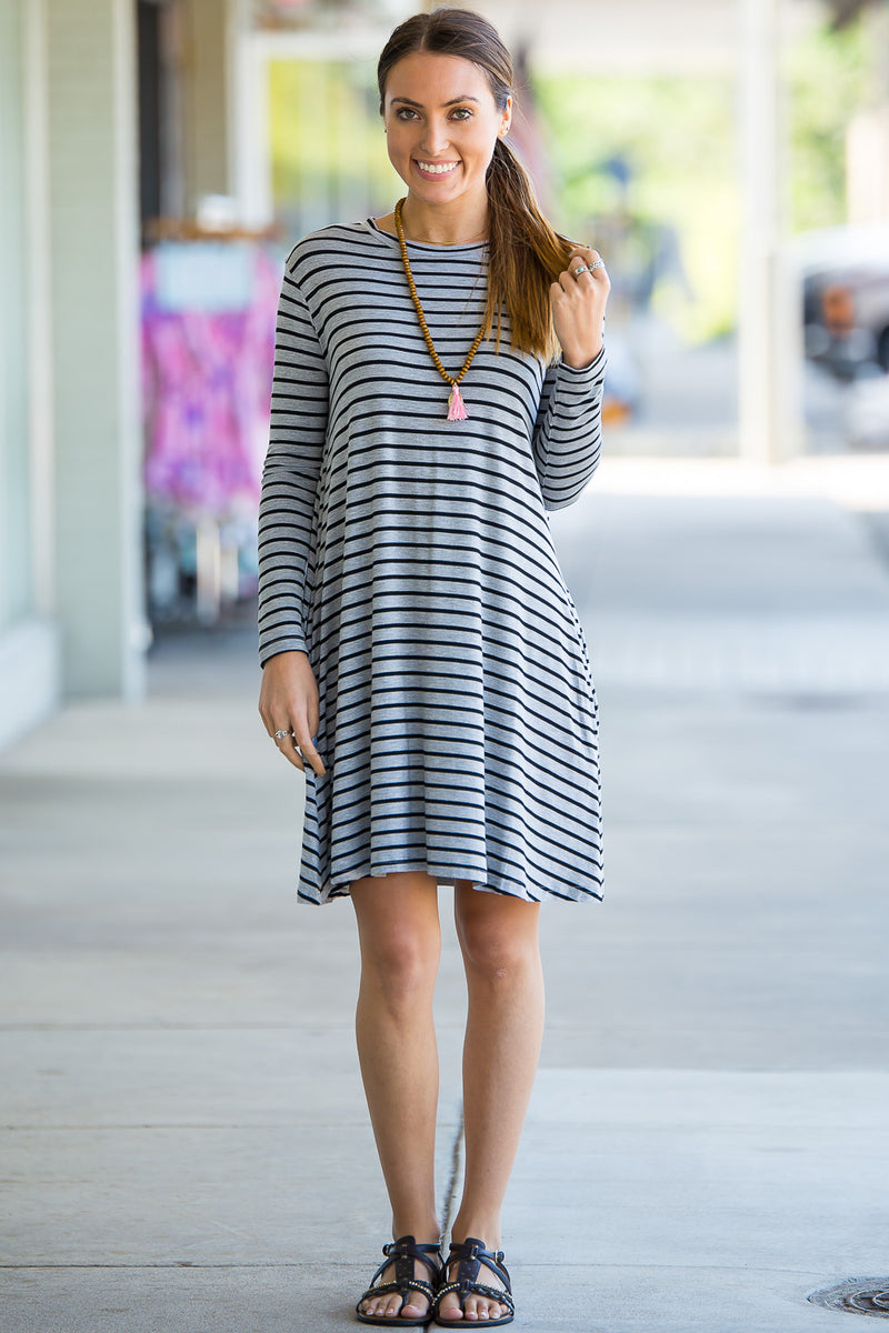 The Perfect Piko Long Sleeve Tiny Stripe Swing Dress-Heather/Black