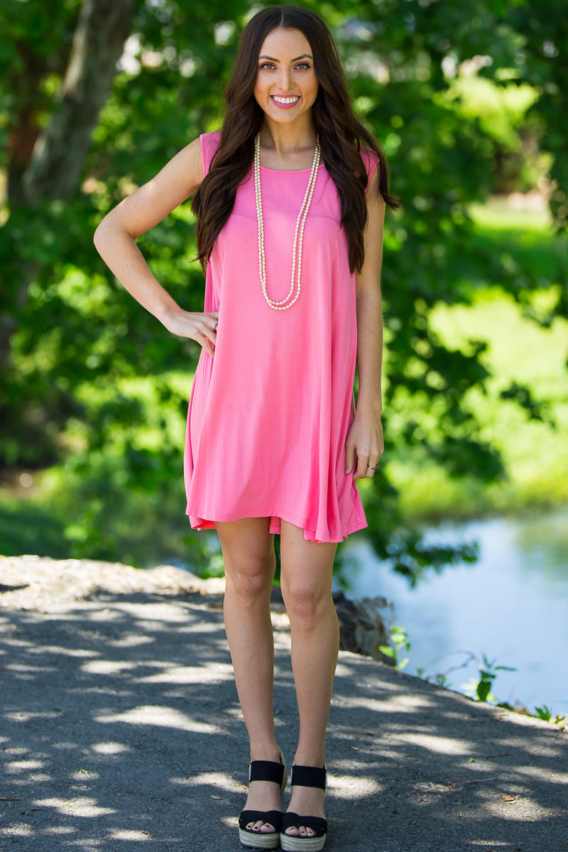 The Perfect Piko Sleeveless Swing Dress-Pink