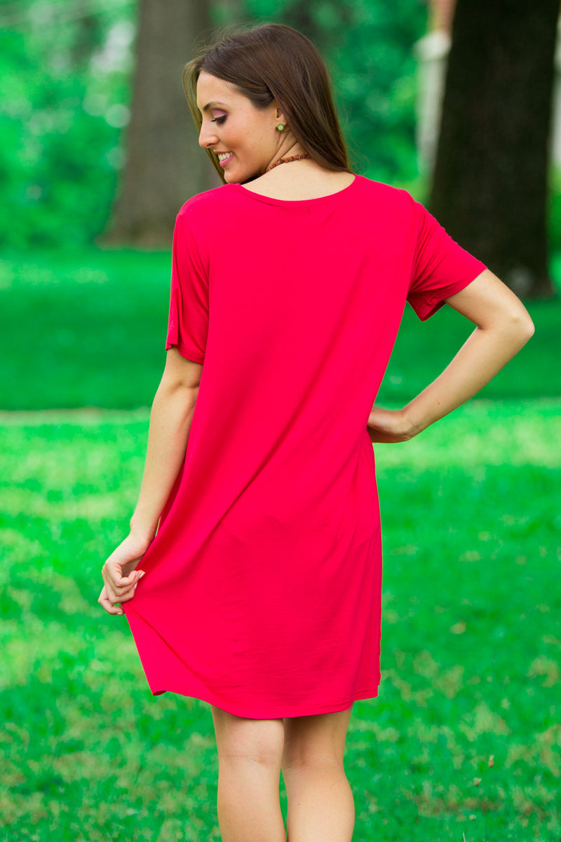 The Perfect Piko Short Sleeve Dress-American Red