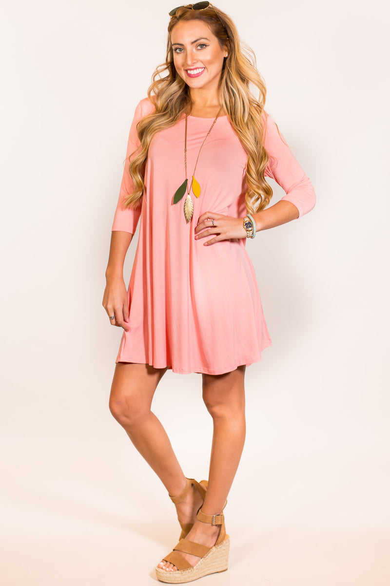 The Perfect Piko 3/4 Sleeve Swing Dress-Peach